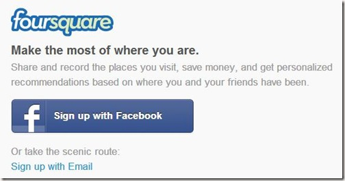 Foursquare Account Signup