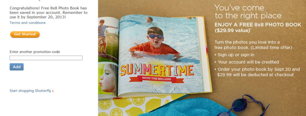 Shutterfly free photo book promo
