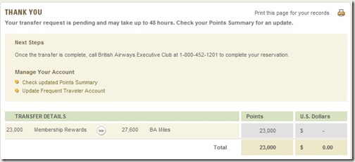 American Express Transfer to BA Validated