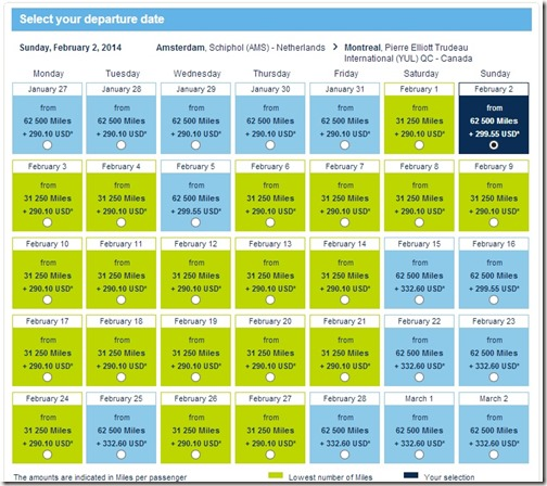 Air France Promo Award Availability from Amsterdam