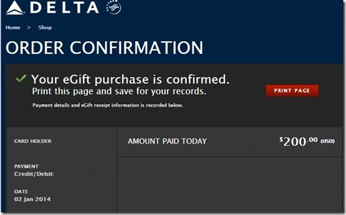 Delta egift certificates confirmation