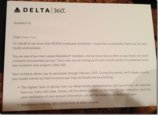 Delta 360 Letter to Medallion Members