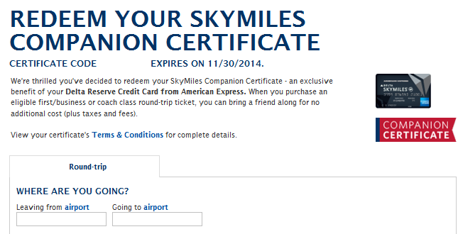 How To Use Delta\'s Companion Certificate For A Free Flight - Points ...