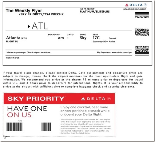 Delta Flight Drink Coupon