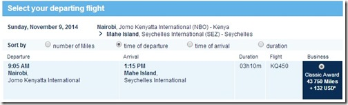 Kenya Airways To Seychelles
