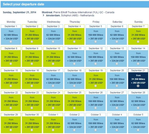 September 2014 KLM Promo Award Availability from Montreal