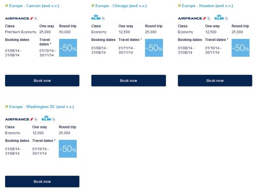Air France Promo Awards From North America Fall 2014