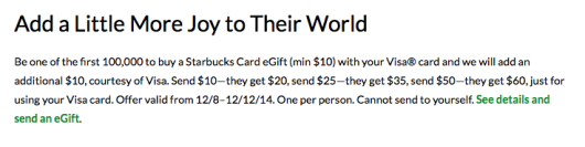Free Starbucks $10 When You Buy $10 e-gift cards