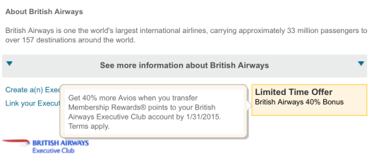British Airways American Express Transfer Bonus
