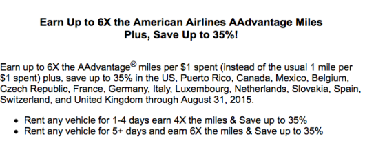 Hertz: Up To 6x AAdvantage Miles Promo Extended
