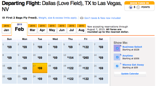 DAL-LAS On Southwest For $59 Each Way