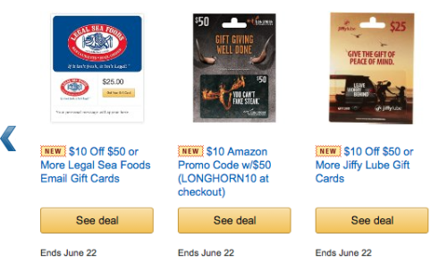 Amazon: 20% Off Select Gift Cards
