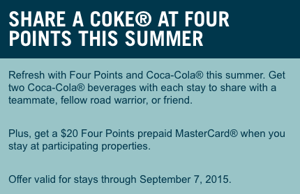 Free $20 Four Points Prepaid MasterCard With 2 Night Stay