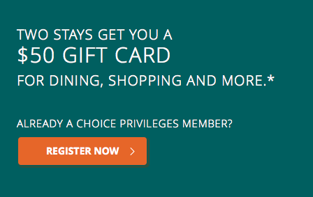 Choice Hotels $50 Gift Card Promotion