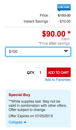 Staples: Lowes Gift Card Deal