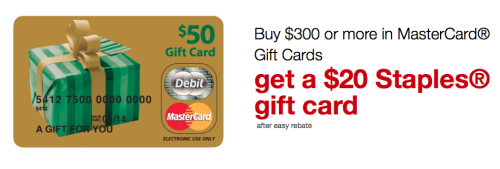 Free $20 Staples Gift Card With MasterCard Starts Today!