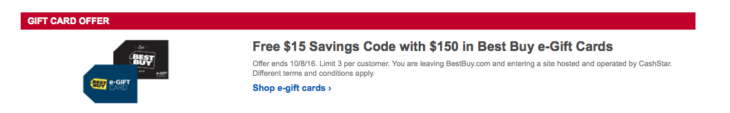 Best Buy Free $15 Code With Gift Card Purchase
