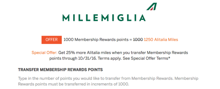 American Express MR 25% Bonus Transfer To Alitalia