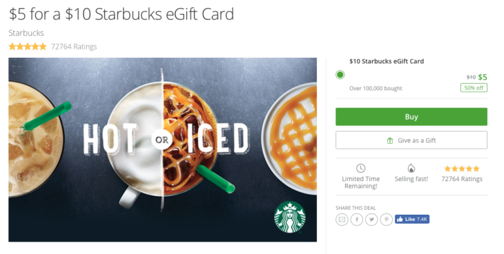 Sweet Deal 50% Off Starbucks Gift Card (targeted)