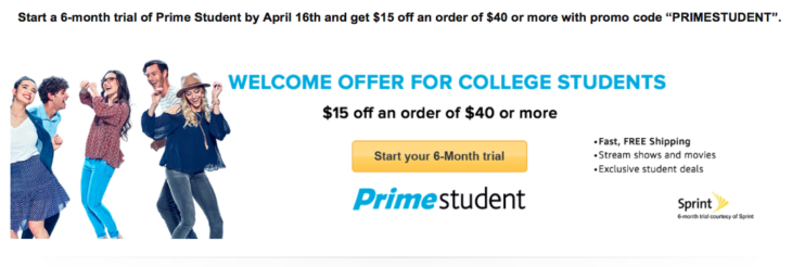 Amazon $15 Off $40 With Prime Student Trial