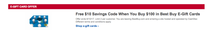 Best Buy Free $10 When Buy $100 Gift Cards