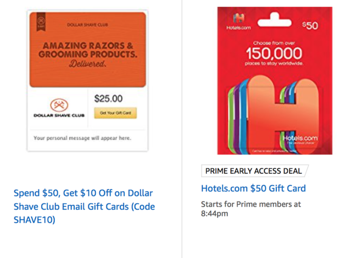 Amazon Discounted Gift Card Deals