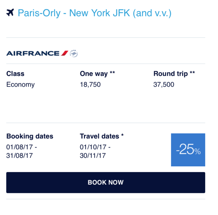 25% Off Paris From New York With Flying Blue Promo Awards
