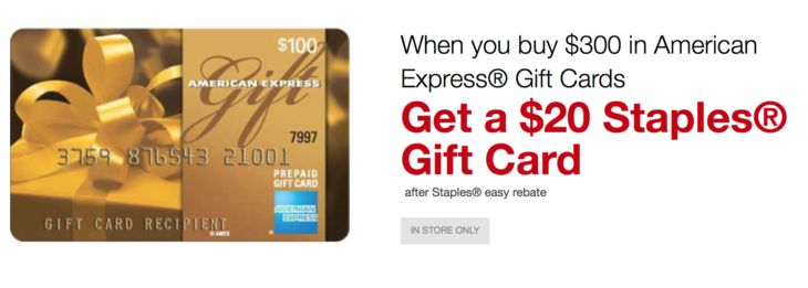 Staples Get $20 With American Express Gift Card Purchase