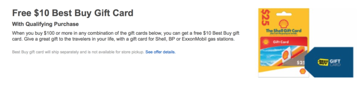 Best Buy Free $10 With Gas Gift Cards