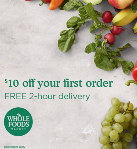 Amazon $10 Off 1st Whole Foods Order