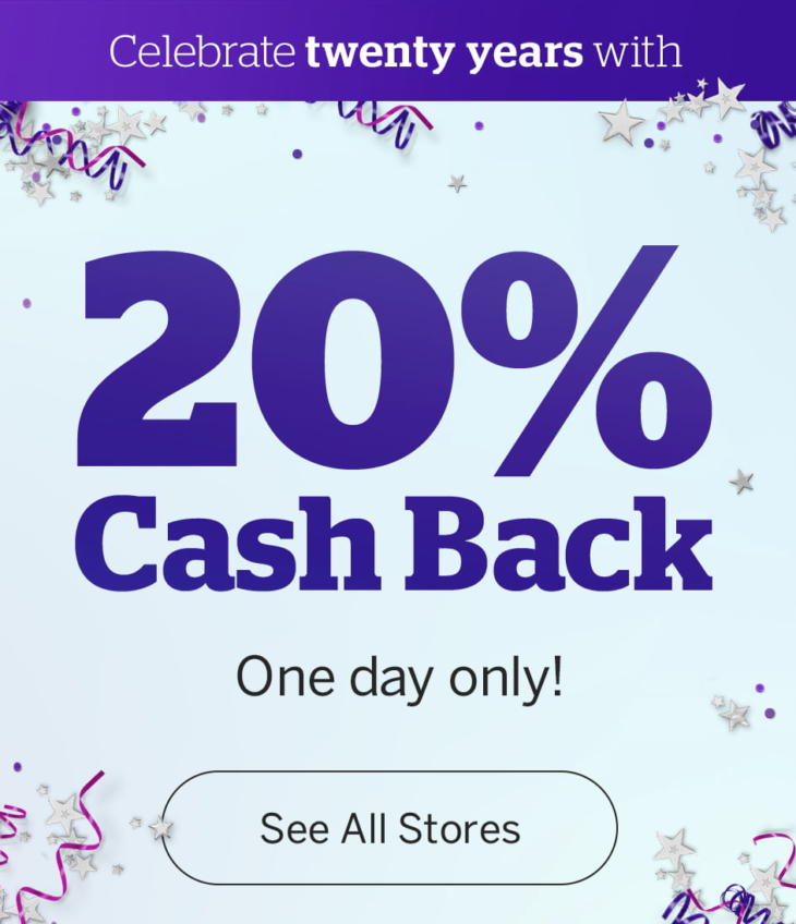 Ebates 20% Cash Back Today Only!