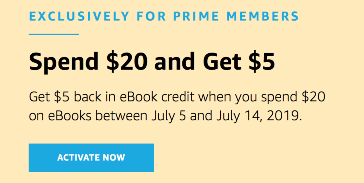 Amazon Get $5 eBook credit with $20 Spend